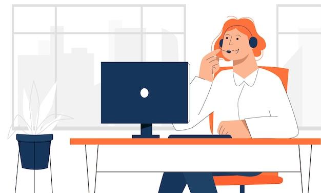 Vrouwelijke kantoormedewerker die online met de klant belt om direct contact te vermijden.