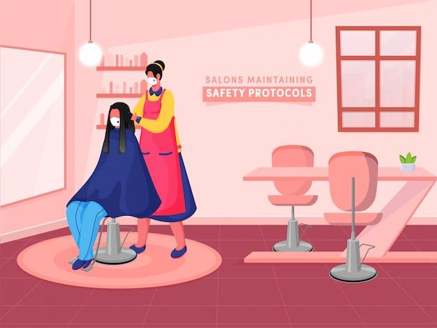 Vrouwelijke kapper cutting hair een cliënt die op stoel in haar salon tijdens coronavirus pandemic zit. kan worden gebruikt als poster of banner.