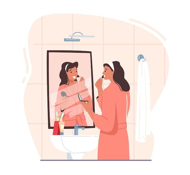 Vrouwelijke karakter make-up procedure in de badkamer. jonge schattige vrouw staat voor spiegel en gootsteen met poeder of oogschaduwpalet voor gezichtsschoonheid, elke dag routine. cartoon vectorillustratie