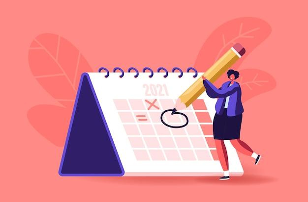 Vrouwelijke karaktercirkeldatum op enorme kalender die belangrijke zaken plant