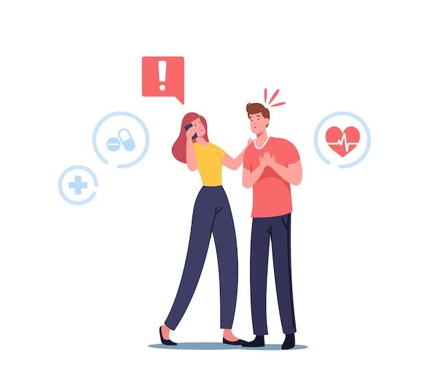 Vrouwelijke karakteroproep naar ambulance voor noodhulp, ehbo-concept. man met hartaanval die borst vasthoudt, heeft cardiopulmonale reanimatie medische zorg nodig. cartoon mensen vectorillustratie