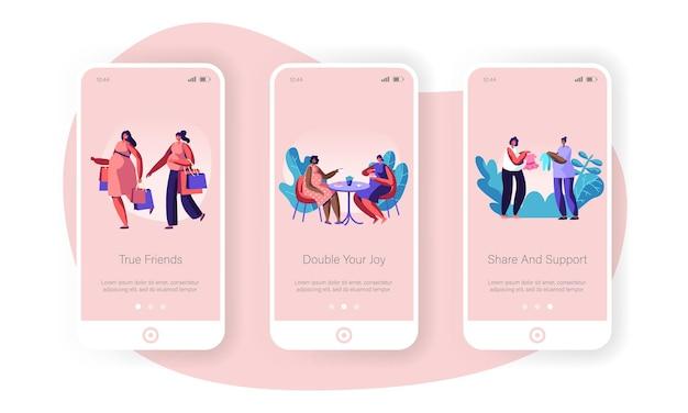 Vrouwelijke karakters gelukkig zwangerschap mobiele app-pagina onboard-schermset