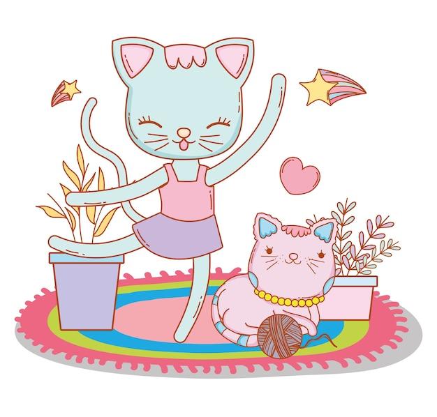 Vrouwelijke kat die met vriend en hart dansen