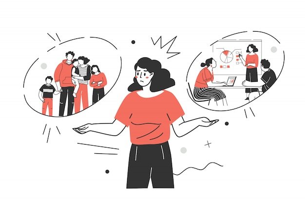 Vrouwelijke keuze. vrouw kiest tussen carrière en gezin. professionele ontwikkeling of familie. moeilijke keuzes, levensdilemma, balans vinden, beslissingen nemen. platte vectorillustratie.