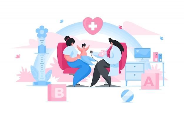 Vrouwelijke kinderarts die baby in kliniek onderzoekt. vlakke afbeelding