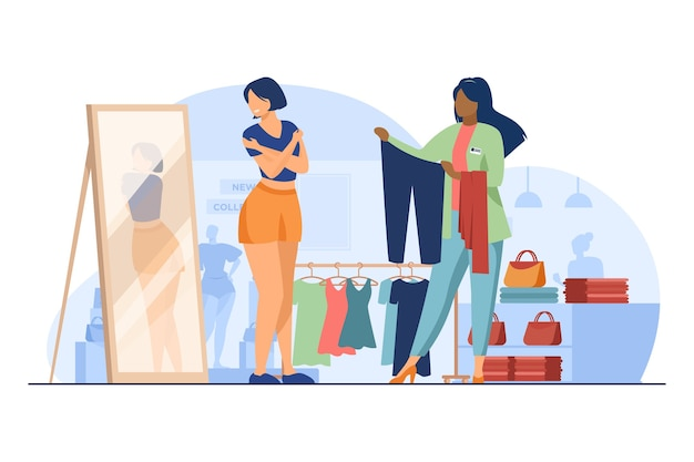 Vrouwelijke klant kleding in mode winkel kiezen. winkelbediende, verkoper, adviseur platte vectorillustratie. winkelen, paskamer