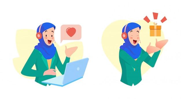 Vrouwelijke klantendienstgebruik hijab bieden vriendelijke service, en bieden nieuws over geschenken aan consumenten