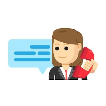 Vrouwelijke klantenservice, telefoongesprek voeren
