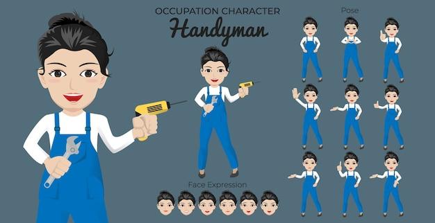 Vrouwelijke klusjesman-tekenset met een verscheidenheid aan houding en gezichtsuitdrukking