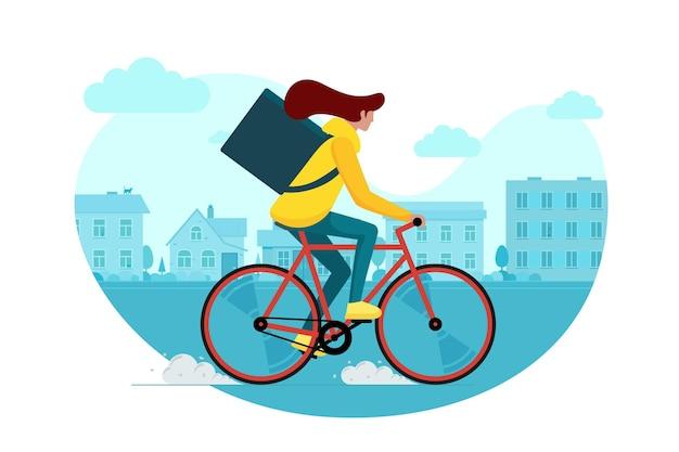 Vrouwelijke koerier met rugzakdoos die fiets berijdt en goederen en voedselpakket op straat in de buitenwijk draagt. jonge vrouw snel fietsen eco bezorgservice op het platteland. vector illustratie