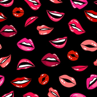 Vrouwelijke komische lippen naadloze patroon vector sjabloon