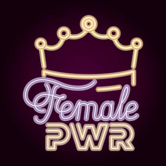 Vrouwelijke kracht met neonlicht en koninginnenkroon