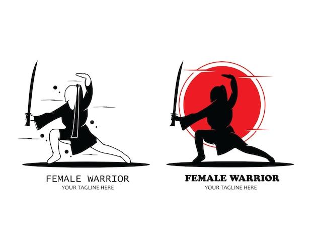 Vrouwelijke krijger logo silhouet set collectie