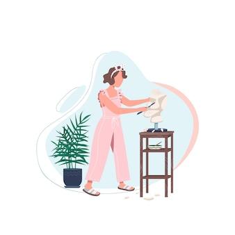 Vrouwelijke kunstenaar met een egaal kleurloos karakter zonder gezicht. vrouwenwerk in kunststudio. marmer snijden met gereedschap. zelfexpressie geïsoleerde cartoon afbeelding voor web grafisch ontwerp en animatie