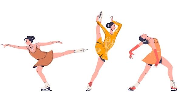 Vrouwelijke kunstschaatsers in prestatiekostuum dat op witte vlakke illustratie wordt geïsoleerd Premium Vector