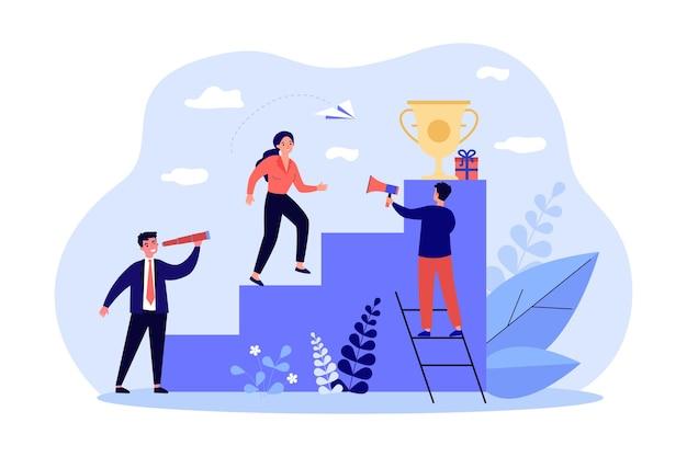Vrouwelijke leider die carrièreladder beklimt naar gouden beker. zakelijke mensen die in team werken, succes behalen, vooruitgang boeken in de uitdaging. leiderschapsconcept voor banner, websiteontwerp of bestemmingswebpagina