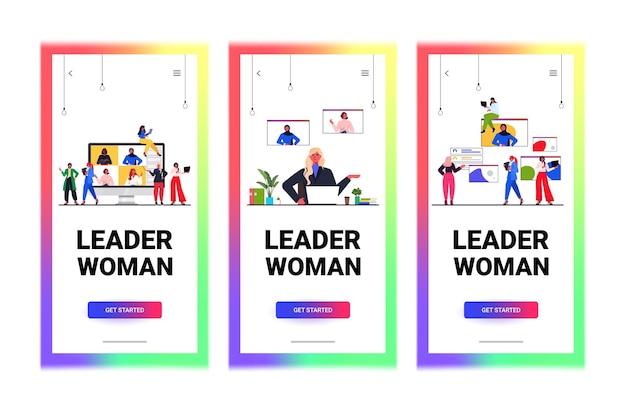 Vrouwelijke leiders bespreken met collega's tijdens videogesprek leiderschap concept horizontale kopie ruimte vectorillustratie instellen