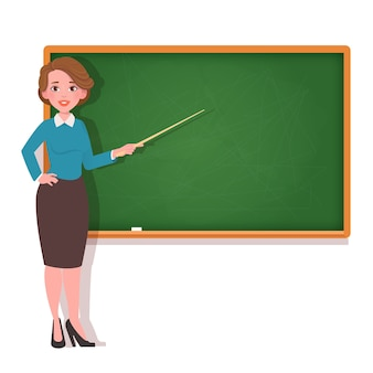 Vrouwelijke leraar bij bord.