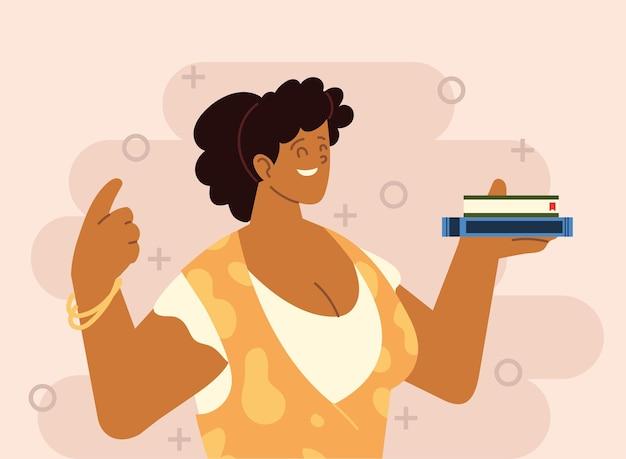Vrouwelijke leraar boeken leren cartoon