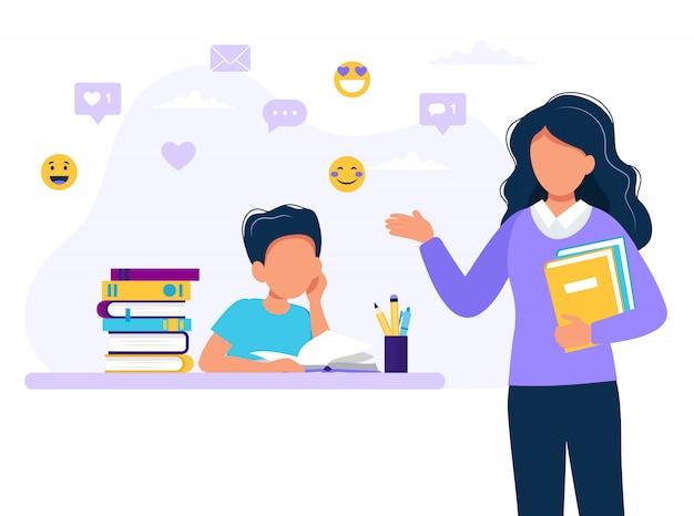 Vrouwelijke leraar en jongen studeren.