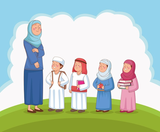 Vrouwelijke leraar en kinderscène