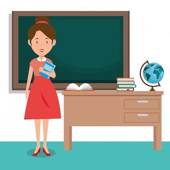 Vrouwelijke leraar in de klas