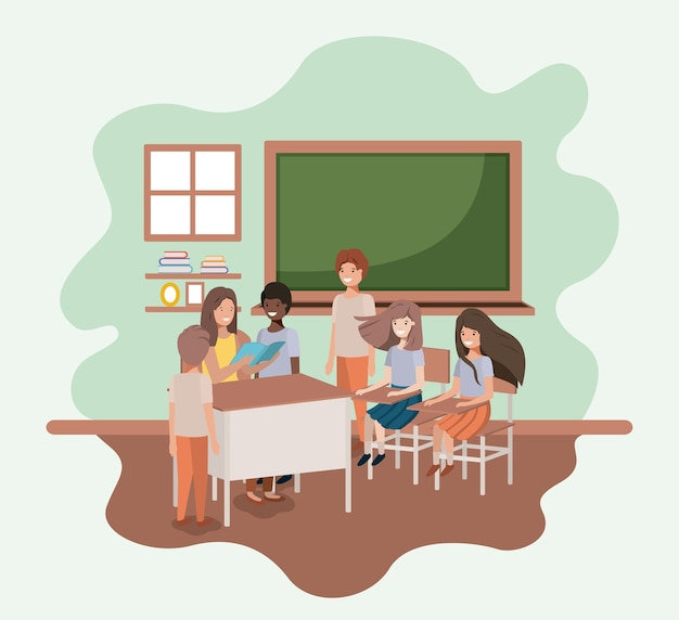 Vrouwelijke leraar in het klaslokaal met ontwerp van de studenten het vectorillustratie