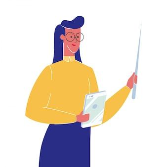 Vrouwelijke leraar met aanwijzer vectorillustratie