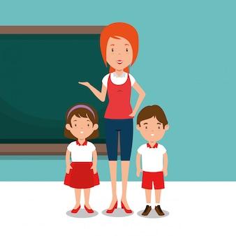 Vrouwelijke leraar met studenten in de klas