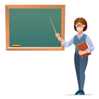 Vrouwelijke leraar staande in de buurt van schoolbord stripfiguur
