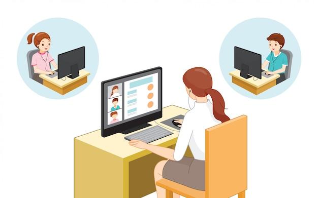 Vrouwelijke leraar teaching student online with desktop computer, sociaal afstandsconcept, het online leren