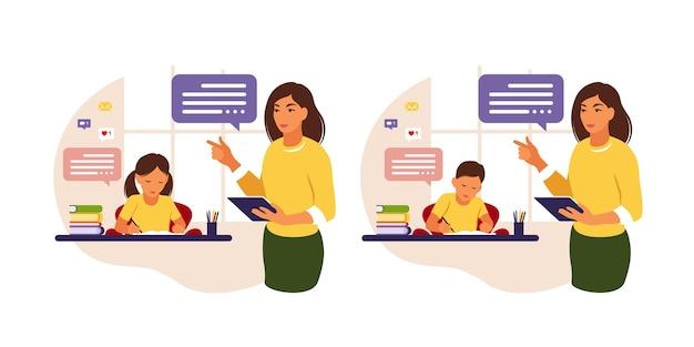 Vrouwelijke leraar vrouw en jongen studeren. concept illustratie voor school, onderwijs en thuisleren.