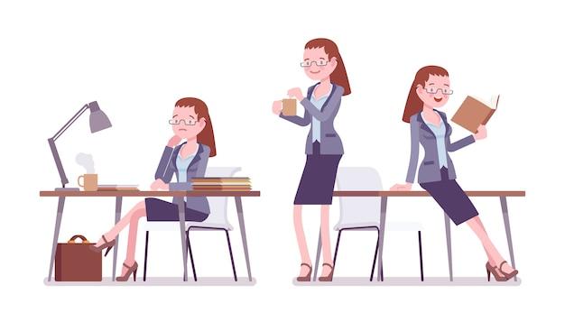 Vrouwelijke leraar werkt in plat ontwerp