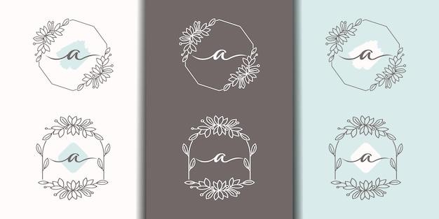 Vrouwelijke letter a met bloemenframe logo sjabloon