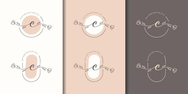 Vrouwelijke letter c met bloemenframe logo sjabloon