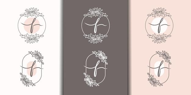 Vrouwelijke letter f met bloemenframe logo sjabloon
