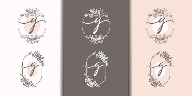 Vrouwelijke letter g met bloemenframe logo sjabloon