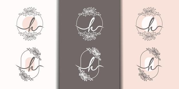 Vrouwelijke letter h met bloemenframe logo sjabloon