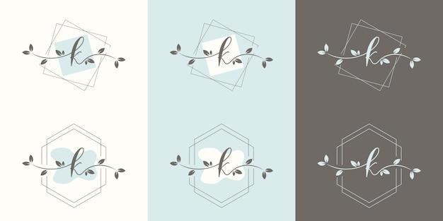 Vrouwelijke letter k met bloemenframe logo sjabloon