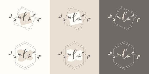 Vrouwelijke letter l met bloemenframe logo sjabloon