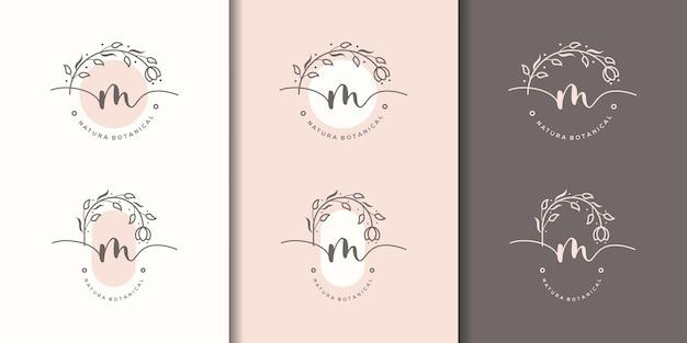 Vrouwelijke letter m met bloemenframe logo sjabloon