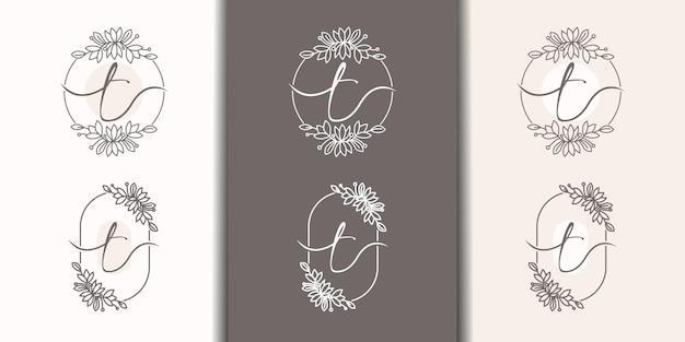 Vrouwelijke letter t met bloemenframe logo sjabloon