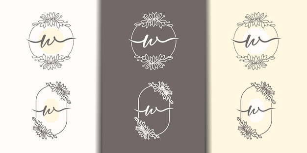 Vrouwelijke letter w met bloemenframe logo sjabloon
