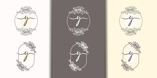 Vrouwelijke letter y met bloemenframe logo sjabloon