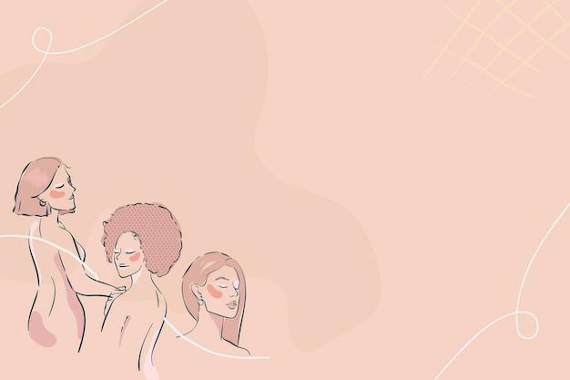 Vrouwelijke lijntekeningen op een beige achtergrond