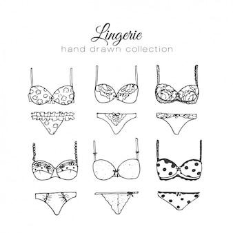 Vrouwelijke lingerie elementen collectie
