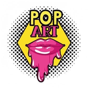 Vrouwelijke lippen die geïsoleerd pictogram druipen
