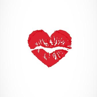 Vrouwelijke lippen in de vorm van een hart