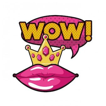 Vrouwelijke lippen met tekstballon geïsoleerd pictogram