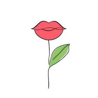 Vrouwelijke lippen plant op witte achtergrond. schoonheid en mode concept.